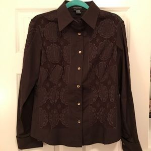 NWOT Etcetera Button Down Semi-Sheer Flower Detail